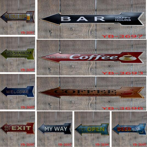 Hot 60pcs Coffee Beer Garage cupcake Exit Vintage Arrow Irregular Tin Sign Gift Craft Wall Plaque Cafe Supermarket Decor