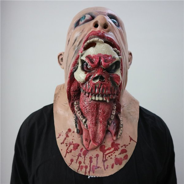 New Halloween horror props nausea rotten mouth bloody Zombie mask walking dead creatures biochemical crisis cap cosplay props