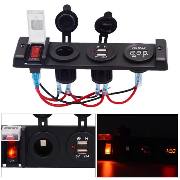 자동차 RV 요트에 대 한 12V IP66 16A 듀얼 USB 자동차 충전기 전원 제어 스위치 패널 Voltmeter 담배 소켓 레드 라이트 CEC_63J