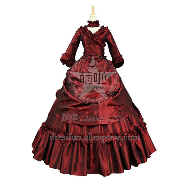 Victorian Lolita Bustle Period Reenactment Gothic Lolita Dress With Charming Ruffles decorado Elegance para la fiesta de Halloween