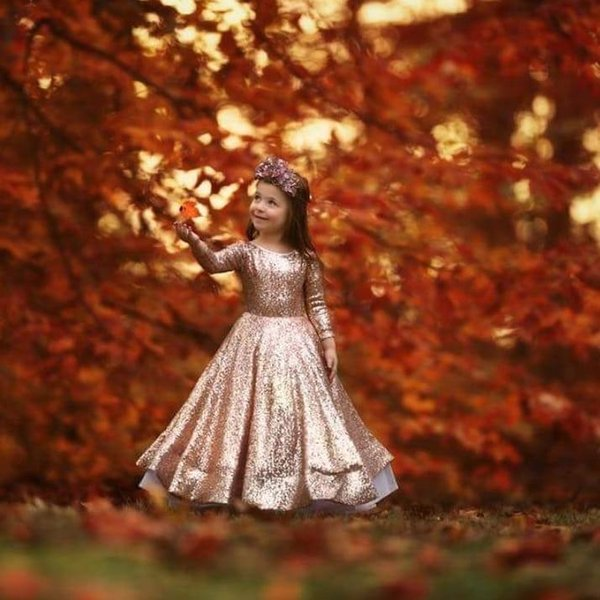 Rose Gold Sequin Long Sleeve Toddler little Girls Pageant Dresses 2019 New Flower Baby Girl First Birthday Dresses