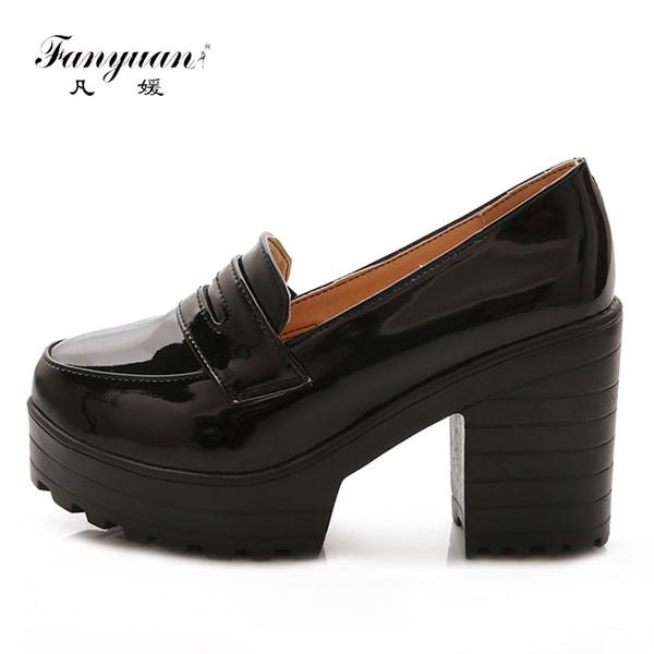vente en gros 2018 plate-forme chaussures femmes rétro bout rond dames talons hauts chaussures concises carré talon robe de soirée pompes Stiletto noir