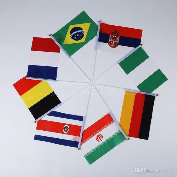 2018 Rus Dünya Kupası Küçük El Dalga Bayrak Ülkeleri Afiş Bayrakları Festivali Kutlama Dekor Polyester Elyaf 0 28 tk bb