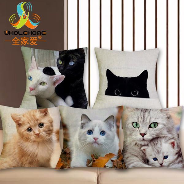 Chair Cushion Cover 43*43cm/17*17'' Cute Cat Printed Pattern Linen Decorative Pillow Case Pillowcase Christmas Home Decoration