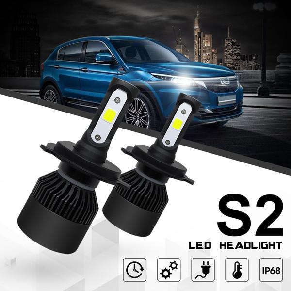 2 pcs LED Headlight Bulb H4 Conversion Kits 9003 HB2 80W Dual Colors 6000K 8000 LM Super Bright Waterproof COB Chips