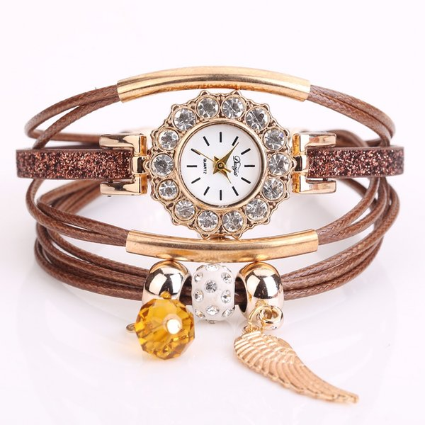 MESTILO Vintage Multilayer Leather Velvet Bracelets For Women Charm Wing Crystal Rhinestone Wrist Watch Wrap Bracelets Bangles