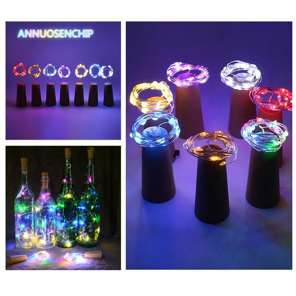 Año Nuevo decoraciones 1M 1.5M 2M 20LED Lámpara de cobre corcho Serie de tecnología de vidrio decorativo de lámparas
