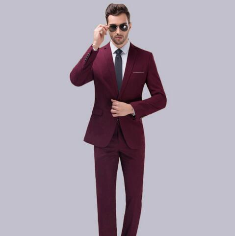 Fashion Wine Red Two Pieces (Jacket+Pants) Business Suits Prom Party Best Men Groom Tuxedos Classic Style Custom Made