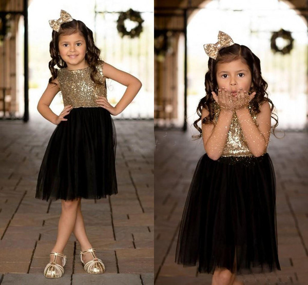 Black Gold Sequins Tulle Flower Girls Dresses For Weddings Children Party Dress Birthday Gowns Sparkly Girls Pageant Dress Knee Length 2018