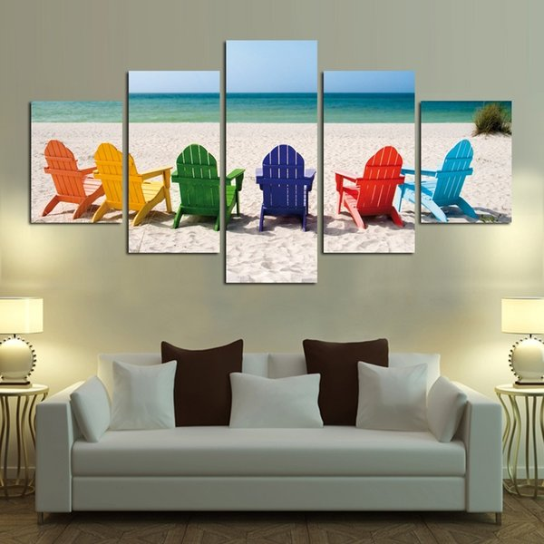 Colorful Chairs and Beaches,5 Pieces Home Decor HD Print Modern Art Canvas (Unframed / Framed)