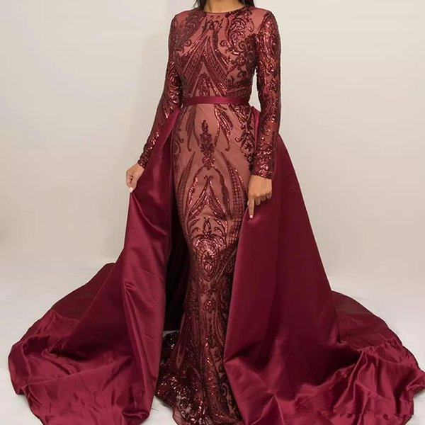 Luxury Burgundy Formal Evening Dresses 2018 Long Sleeve Zuhair Murad Mermaid Jewel Neck Sequined lace Prom Gown With Detachable Train