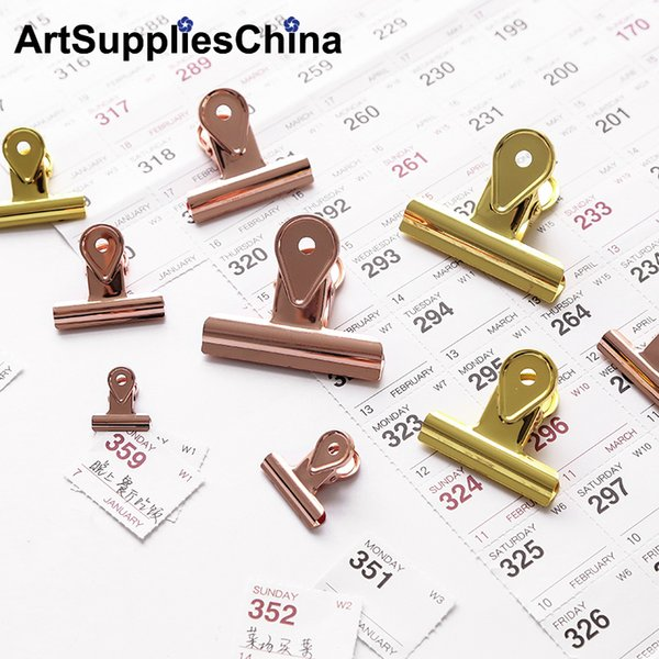 1 Unidades Paquete 65mm Color Sólido Rose Gold Metal Binder Clips Notas Carta Clip de Papel Material de Oficina