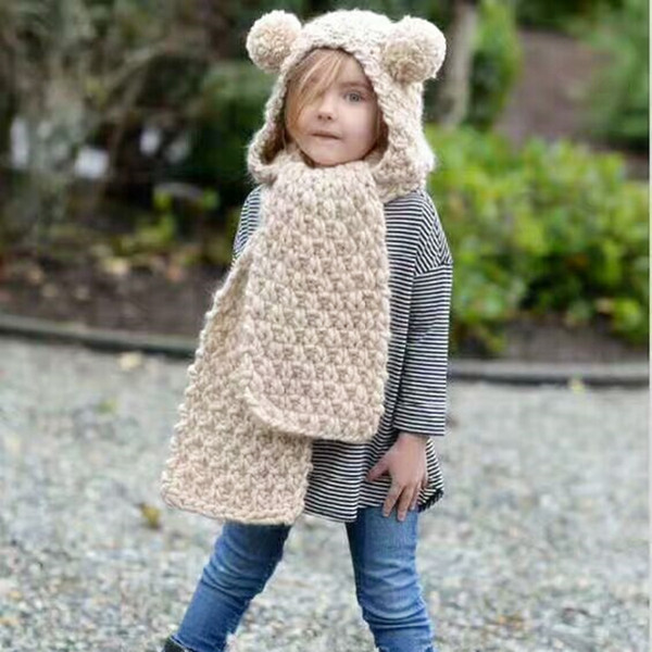 Cute Baby Bear Knitted Hats with Scarf Winter Windproof Kids Boys Girls Warm Bear Caps for Children Bear Scarf Cap Beanies