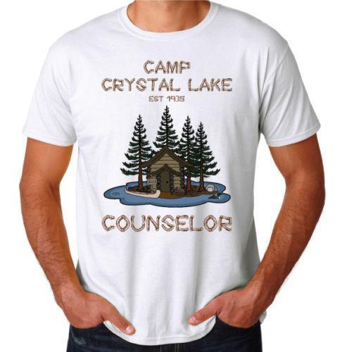 Acampamento Crystal Lake Sexta-feira O 13º Clássico Filme de Terror Slasher Engraçado Nova T-Shirt Dos Desenhos Animados Impressão de Manga Curta T Shirt Frete Grátis