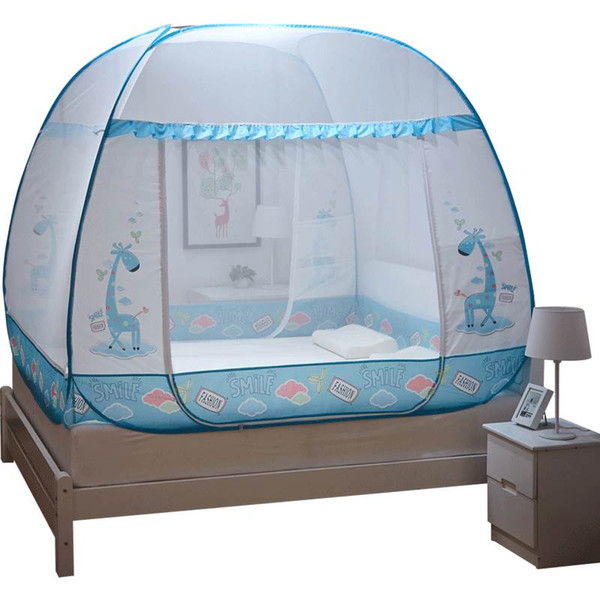 1.8m Large Size Mosquito Net for Double Bed Cartoon Kids Bed Canopy with Bottom,Two Doors Netting Tent Travel Portable Mesh Canopy