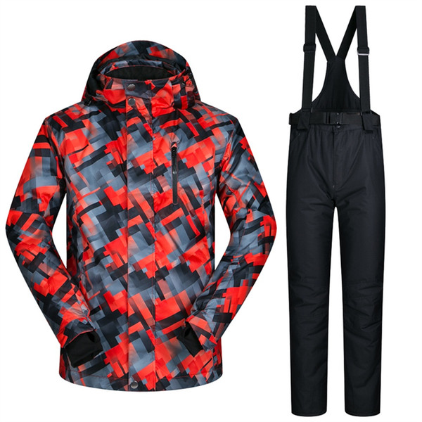 Men Ski Suit Bib Pant Waterproof Men's Snow Suits Winter Weather Protection Skiing Jacket and Pant Sets 3XL