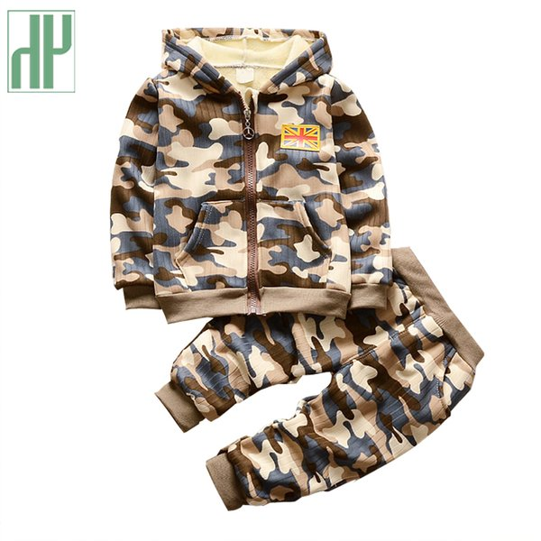 Korean Children clothing hooded Long Pants camouflage kids winter clothes for girls boutique outfits toddler boys clothing Y1892808