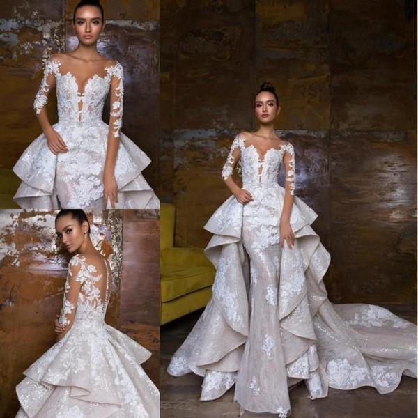2019 Designer Robes De Mariée Robes De Mariée Avec Train Détachable Manches Longues Dentelle Appliqued Illusion Corsage Pays Robe De Mariée