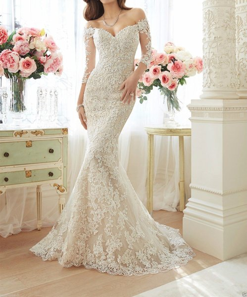 Elegant Embroidery Lace Flower mermaid Wedding Dresses Sexy V-Neck Mermaid Gown Dress Pregnant women dresse hollow back with sweep train W18