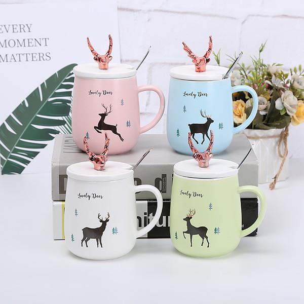 450 ml Creativo tazza di caffè in ceramica con coperchio cervo latte tazza di tè tazze di viaggio drinkware novità regalo per bambini dhl libera il trasporto all'ingrosso bh36