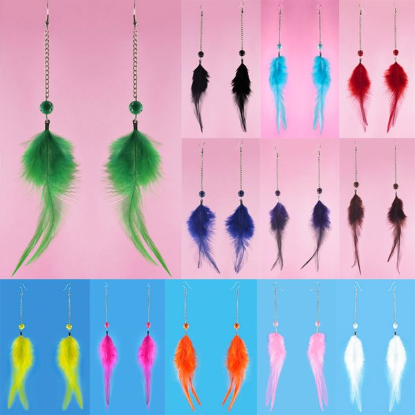 Downy Feather Earrings 12 Colors wholesale lots Cute Bead Chain Light Dangle Eardrop New (Black Brown Purple Blue Green White Yellow)(JF304)