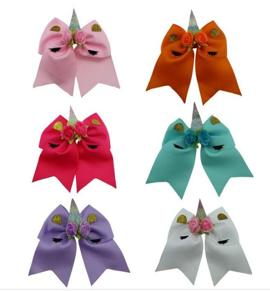 """7"""" Large Size Fashion Unicorn Cheer bows Elastic rubber band for school girls High Quality Hair Bows Cheerleading bows 12pcs/"""