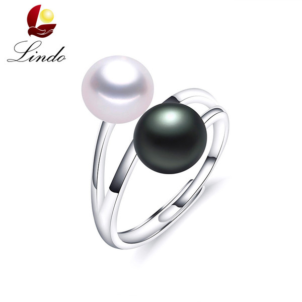 Fashion Solid S925 Sterling Silver Rings For Women Elegant High Luster 5A Natural Pearl Ring Double Pearl Jewelry 8-9mm Lindo S18101002