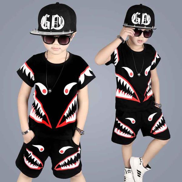 Newest Fashion Boys Outfit big Children Clothing Sets Summer T Shirts Tops + Harem Half Pants 2piece Set Suits For Boy Black