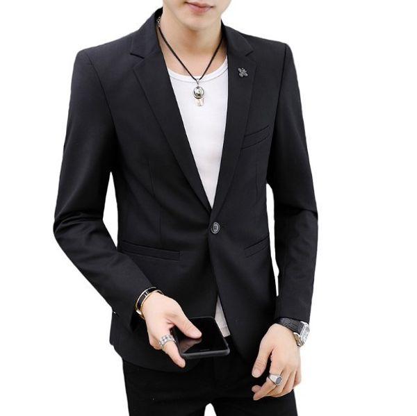 Charm Men's Casual Slim Fit One Button Suit Blazer Stylish Handsome Formal Coat Jacket Men Wedding Tops Black White Blue Red 4XL
