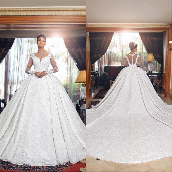 Dubai Arabic Luxury 2019 Vintage Lace Ball Gown Wedding Dresses Sheer Neck Long Illusion Sleeves Court Train Bridal Gowns Veistido