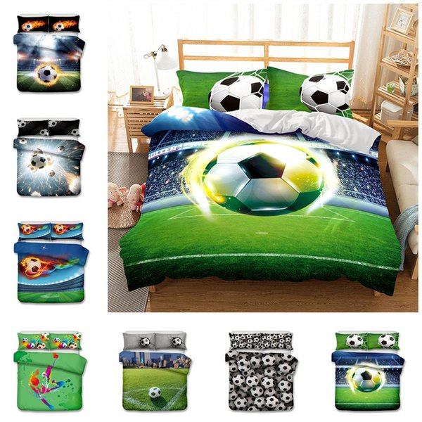 New 3D Football Design Bedding Set 2PC/3PC Duvet Cover Set Of Quilt Cover & Pillowcase Twin Full Queen King Size