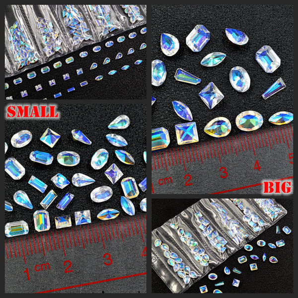 1 Pack Mix Shapes Glitter AB Clear Square Oval Drop Resin Multislice Diamond Gems Nail Art Rhinestone Decorations DIY Tips