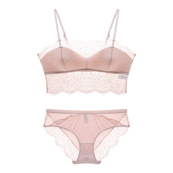 Sexy lashes French lace thin cotton cup summer pull-over bra set transparent women bras panties comfortable sleep underwear sets