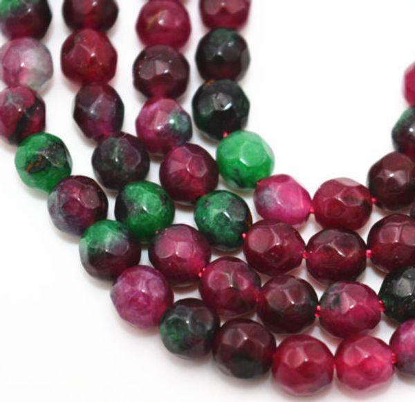 Neue 4mm Natürliche Facettierte grüne Ruby Smaragd Runde Edelstein Lose Perlen 15 ''