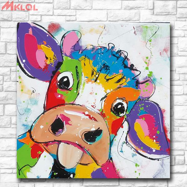 2019 Animal Pop Art Cute Little Cow Canvas Prints Wall Art Oil Painting Home Decor Unframed Framed From Xiaohua1214 6 84 Dhgate Com