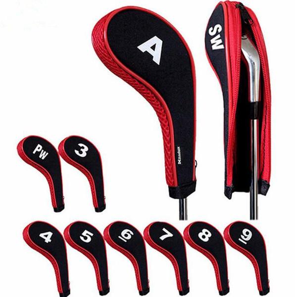 10Pcs gomma Neoprene Golf Head Cover Golf Club Putter Iron Protect Set numero stampato con cerniera collo lungo
