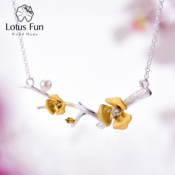 Lotus Fun Real 925 Sterling Silver Handmade Designer Fine Jewelry Delicated Plum Blossom Flower Necklace with Chain for Women Y1892805
