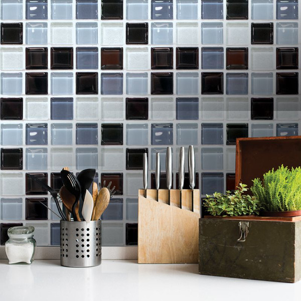 3d wall sticker self adhesive mosaic tiles room decor decoration pvc kitchen bathroom decal tile stickers