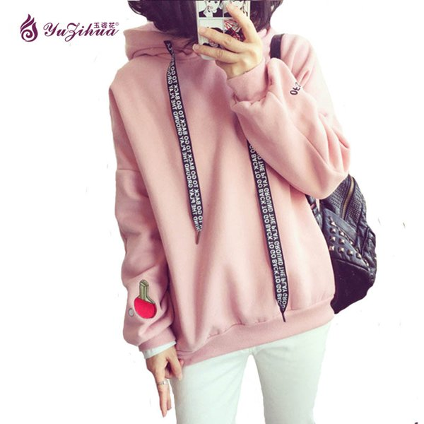 Wholesale- Pink Thick Sweatshirts Women Hoodies Women Tracksuit Sweatshirt Plus Size Poleron Mujer Big Size Kawaii Hoodie Cute Sweat Femme
