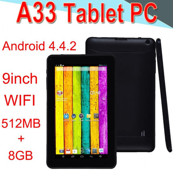 A33 9 pollici Tablet PC Capacità Quad Core Android 4.4 Doppia fotocamera 8 GB RAM 512 MB ROM WIFI Bluetooth 3G EPAD Facebook Google XCTA33-PB