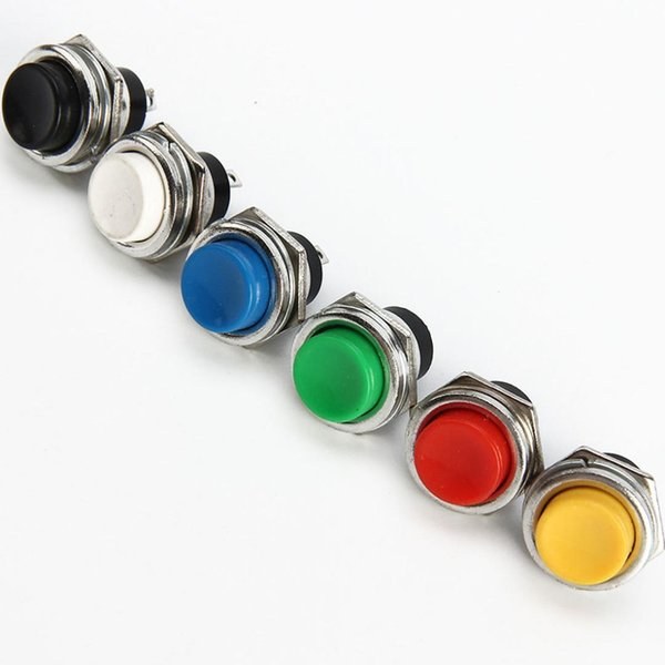 Interrupteur à bouton-poussoir momentané 16mm Interrupteurs à bouton-poussoir momentané 6A / 125VAC Interrupteur rond 3A / 250VAC