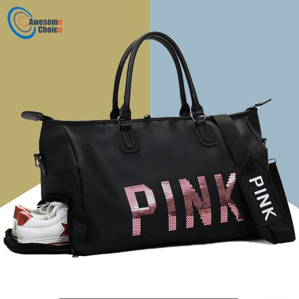 b6788fd30ef6 Female Fitness PINK Gym Bag Shoes Ladies Nylon Large Training Shoulder Yoga  duffel Pink Women Outdoor travel sac de sport bags