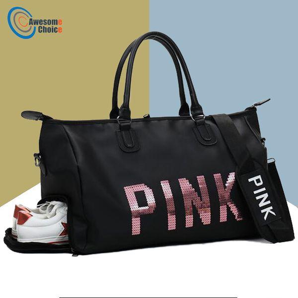 5d9519dabe6e Female Fitness PINK Gym Bag Shoes Ladies Nylon Large Training Shoulder Yoga  duffel Pink Women Outdoor travel sac de sport bags