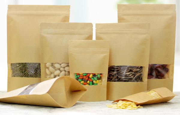 Sacs imperméables à l'humidité de nourriture de 100Pcs, fenêtre met en sac l'emballage de zip-lock de poche de papier d'emballage de Brown Kraft