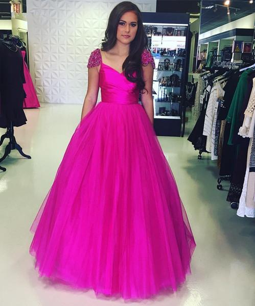 2018 Beaded Portrait Neckline Evening Dresses Zipper Back Fuchsia Tulle Long A Line Prom Formal Gowns