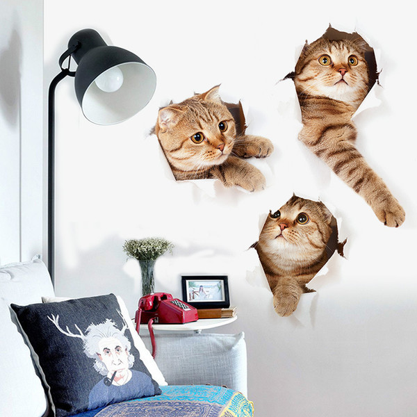 Katze Hund Lebendige 3D Look Loch Wandaufkleber Bad Wc Dekorationen Kinder Geschenk Küche Nette Wohnkultur Aufkleber Wandbild Tier Poster 1000 wn399B