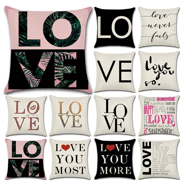 best selling Valentines Pillows Case Valentine's Day Letter printing Pillow Cover 45*45cm Sofa Nap Cushion Covers Home Decoration 59 styles C3456