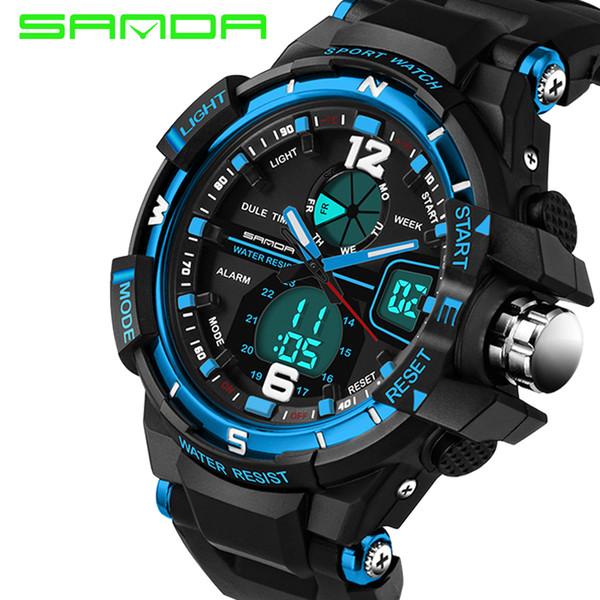a62b3857270 Sanda 289 relógio de luxo homens moda à prova d  água analógico-digital  esportes de quartzo-relógio relogio masculino montre homme marque de luxe