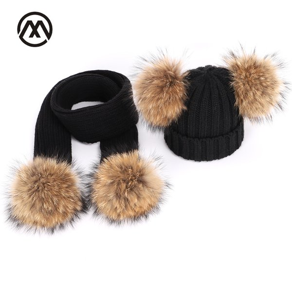 Winter Knitted Children Raccoon Fur Pom Pom Hats Scarf Two-Piece Mask Boy and Girl Warm Comfortable Adjustable ski beanie caps