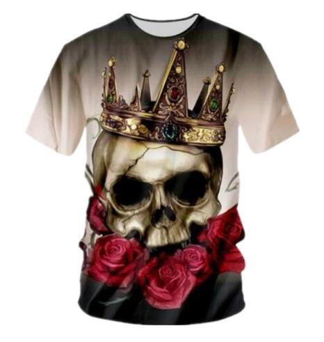 New Fashion 3D Printed Flower Crown Skull Women/Men's T-Shirts Summer Short Sleeve T Shirt Quick Dry Comfortbale Clothing Tops